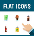 flat icon drink set of soda juice bottle and vector image vector image