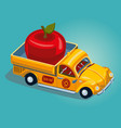 food delivery concept retro pickup car with fruit vector image vector image