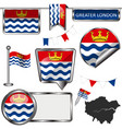 glossy icons with flag of greater london uk vector image