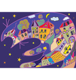 Greeting card with cat and night town vector image vector image