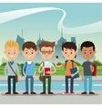 group students boys back school urban background vector image vector image