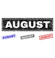 grunge august scratched rectangle watermarks vector image vector image