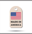 hang tag made in america with flag on white vector image vector image