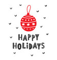 happy holidays christmas and new year card vector image vector image