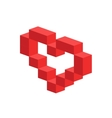 Heart 3d isometric icon vector image vector image