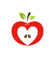 Heart shaped apple logo label emblem