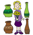 little girl pots and flowers vector image vector image