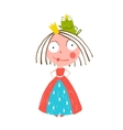 Little Princess Standing with Prince Frog Sitting vector image vector image