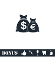 Money Bags with currency symbols icon flat vector image vector image