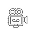 movie camera with film strip camcorder retro vector image vector image