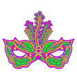 multicolor carnival mask with feathers isolated on vector image vector image