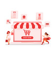 online shopping with laptop vector image vector image