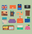open purse leather wallet with money vector image vector image