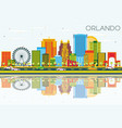 orlando skyline with color buildings blue sky and vector image vector image