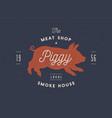 piggy pig pork vintage label logo sticker vector image vector image