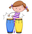 Playing drums vector image vector image