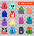 school backpacks transparent collection vector image vector image