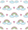 seamless pattern with rainbows clouds and hearts vector image