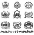 set emblem with tractors design element vector image vector image