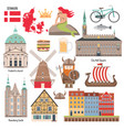 set with icons denmark symbols vector image