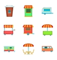 Street retail and market icons set cartoon style vector image