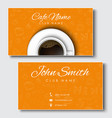 templates yellow cards for coffee shops and vector image