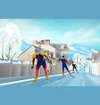three skiers vector image