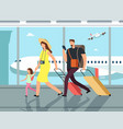 traveling family with luggage in airpor terminal vector image