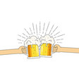 two mugs beer in hands with a lot of foam vector image vector image