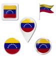 venezuela flag glossy button vector image vector image