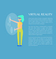 virtual reality and woman in special tech glasses vector image vector image