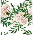 watercolor rose bouquet seamless pattern vector image