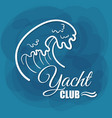 white lettering yacht club wave vector image vector image