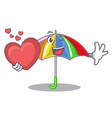 with heart rainbow umbrella in chracter that fun vector image