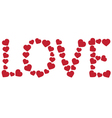 Word love made of red hearts vector image vector image