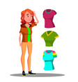 young girl choosing shirt dresses vector image