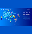 3d isometric character buying online on blue vector image