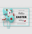 3d paper cur easter holiday design vector image vector image
