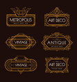 art deco labels set vector image