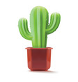 cactus in a plastic pot on a white background 3d vector image vector image