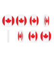 canada flag round icon spinning animation sprite vector image vector image