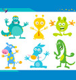 cartoon fantasy monster characters set vector image