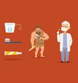 cave man dental health doctor prevention vector image