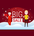 couple man woman hold megaphone big sale concept vector image