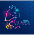 creative ganpati design on blue background vector image vector image