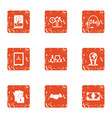 cyber century icons set grunge style vector image vector image
