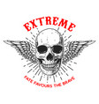 extreme poster template with winged human skull vector image vector image