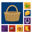 farm and gardening flat icons in set collection vector image vector image