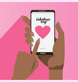 female african hands holding smartphones with big vector image