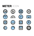 flat meter icons set vector image vector image